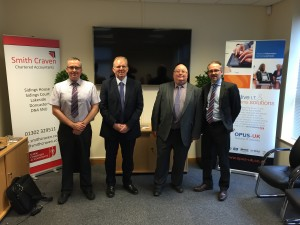 L-R  Gavin Wood representing Opus-UK, Paul Gregory from Smith Craven, Mike Sheard from Opus-UK, Tim O'Reilly from Syscap
