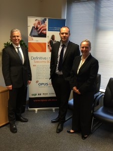 L-R  David Pattinson from Sage, Tony Merryweather from Opus-UK, Jo Barber from Sage
