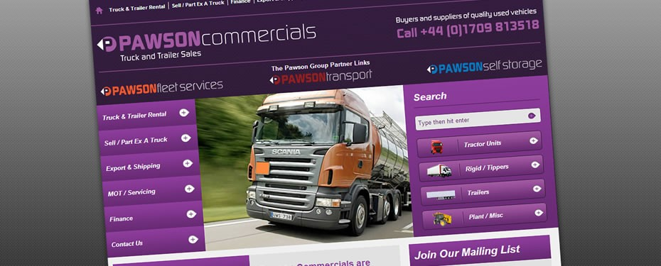 Pawson Commercials Web Print Screen